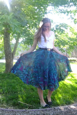 teal Coldwater Creek skirt - black SO flats - white cotton blouse - black belt