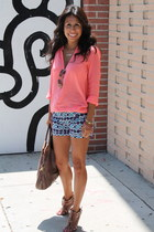 blue ikat print Target shorts - coral Zara blouse - brown Sole Society sandals