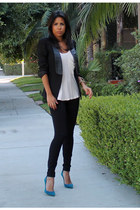 black H&M blazer - black JCrew pants - blue Manolo Blahnik heels
