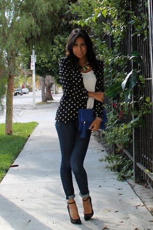 black Nordstrom blazer - blue C Wonder purse - white Nordstrom top