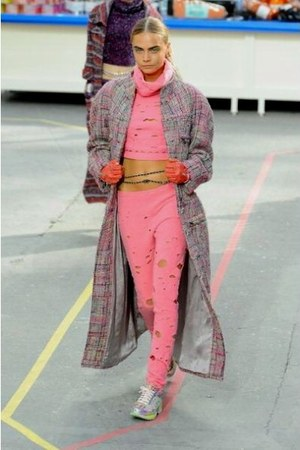 grey and pink Chanel coat - pink Chanel top - pink Chanel pants