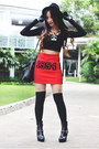 Rotelli-boots-forever-21-hat-h-m-divided-skirt-bershka-top-romwe-gloves