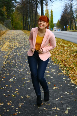 pink blazer - black Your Face shoes - yellow H&M shirt
