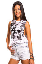 "WHITE VEST TEE WITH ""YOU WASTE MY TIME"" LOGO"