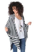 NAVY BLUE STRIPE KNITTED CAPE