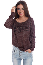 Maroon sweater with Way out logo