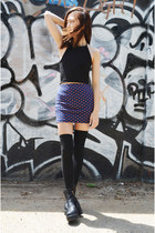 black tights JSimple socks - polka dot skir JSimple skirt