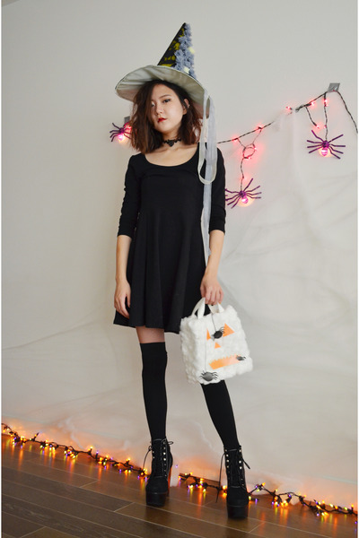 Q2HAN bag - black boots Jeffrey Campbell boots - black dress H&M dress