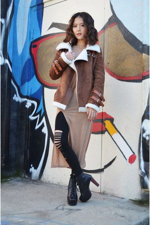 coat Sheinside coat - boots Lovelywholesale boots - slit maxi dress Q2HAN dress