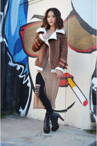 coat Sheinside coat - boots Lovelywholesale boots - slit maxi dress Q2HAN dress