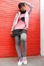 Pink-o-zone-jacket-black-t-shirt-black-mini-skirt-jeans-skirt-jeans-blac