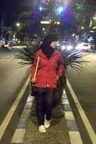 black Paris Jilbab hat - red Ebay coat - black skirt - black Levis jeans - crock