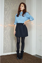 box pleat skirt Q2HAN skirt - denim shirt BangGood shirt