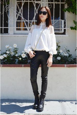 lace blouse Sheinside shirt - bag Louis Quatorze bag - Jemulet bracelet