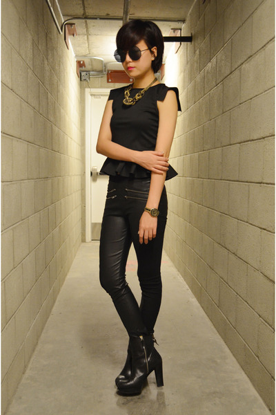 Q2HAN top - black boots Nine West boots - leather pants cotton on pants