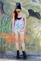 lame shirt Sugartops shirt - denim shorts Chictopia shorts