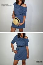 blue QUINCC dress - beige QUINCC hat - black belt