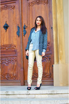 gold metallic H&M pants - gray textured Mango coat - blue striped Zara shirt