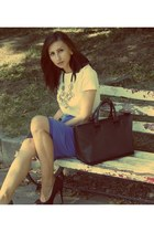 black Zara bag - blue wrap vintage skirt - black asos heels - ivory Zara t-shirt