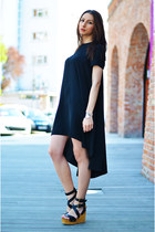 black asos dress - black ASH sandals