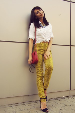 yellow snake print thrifted pants - white H&M shirt - red leather thrifted bag