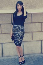 lace hm skirt - quilted asos purse - basic hm blouse - Zara sandals