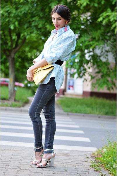 gray Zara jeans - sky blue Zara shirt - yellow asos bag - hot pink H&M earrings