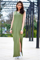 army green maxi H&M dress