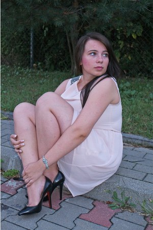 peach Zara dress - black Christian Louboutin shoes - silver Apart bracelet