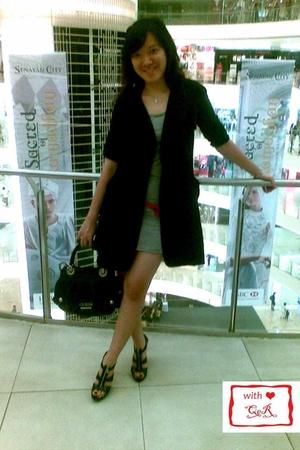 random brand coat - random brand dress - Public Affair belt - Guess purse - Char
