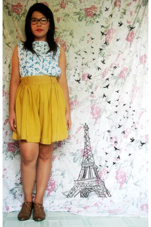 brown oxfords Peacocks shoes - aquamarine warehouse top - yellow mustard skirt