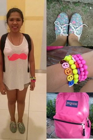 floral shoes - hot pink jansport bag - denim shorts - arm candy accessories