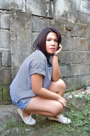 white H&M shoes - navy vintage denim shorts - dark gray stripes t-shirt