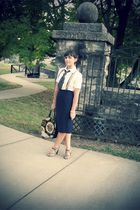 white thrifted blouse - blue vintage skirt - silver seychelles shoes - black vin