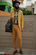 cotton asos blazer - cotton Zara shirt - leather Zara bag - mustard Sparks pants