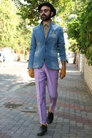 jeans Zara blazer - leopard print Zara shirt - amethyst asos pants