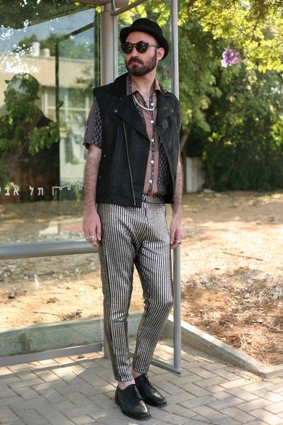 silver shiny pants - seco shirt - black leather vest Topman vest