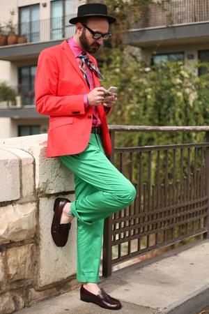 second hand shoes - asos hat - H&M Trend blazer - Zara shirt - second hand pants