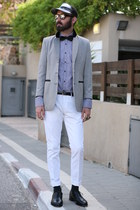 white second hand blazer - black Zara shirt - Ebay flats