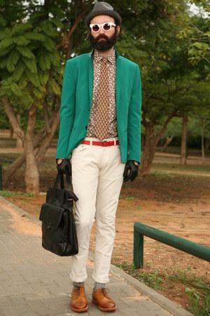 brown Zara shirt - dark green H&M blazer - forest green second hand tie