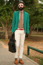 brown Zara shirt - dark green H&M blazer - forest green second hand tie
