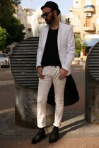 white Zara blazer - black second hand hat - black Underground flats