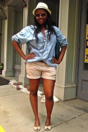 Urban Outfitters hat - TJ Maxx shorts - thrifted blouse