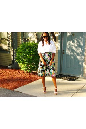 Charlotte Russe shoes - flower thrifted vintage skirt - H&M blouse