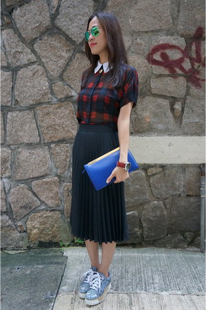 ruby red tartan Zara blouse - blue lutetia clutch Yves Saint Laurent bag