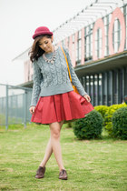 maroon A Land skirt - brown lace up oxfords CHURCHS shoes