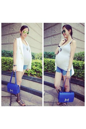 blue constance bag - white vest jacket Zara jacket