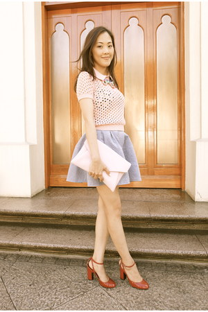 sky blue mini skirt snidel skirt - pink American Apparel sweater