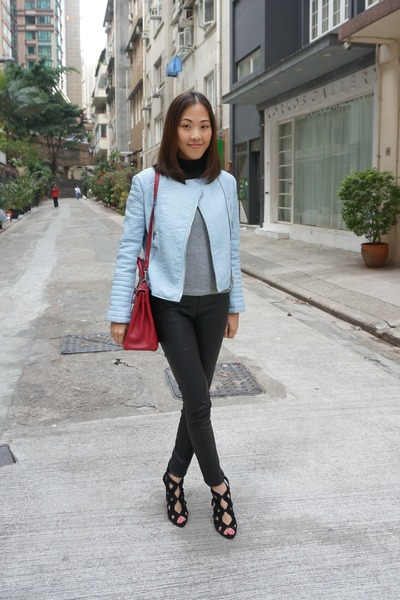 ruby red kelly bag Hermes bag - light blue leather jacket Zara jacket