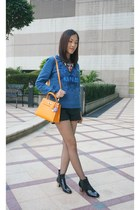 black Zara boots - gold kelly Hermes bag - black Zara shorts